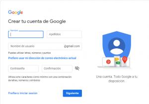 como crear una cuenta de correo electronico Gmail