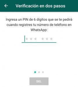Activar verificación en dos pasos Whatsapp