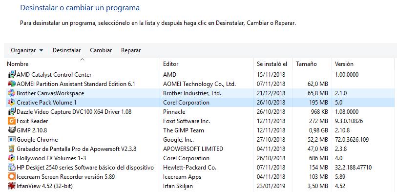 desinstalar programas windows 10