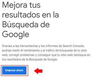 Indexar web en google search