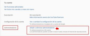 añadir administradores youtube