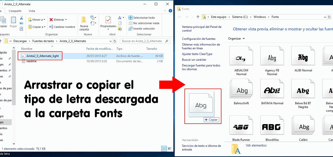 instalar tipos de letra en windows 10