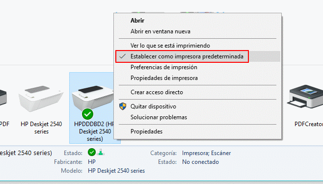 problema impresora predeterminada
