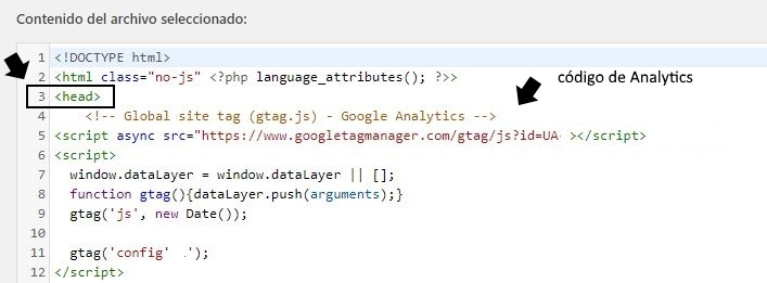 pegar codigo analitics en wordpress