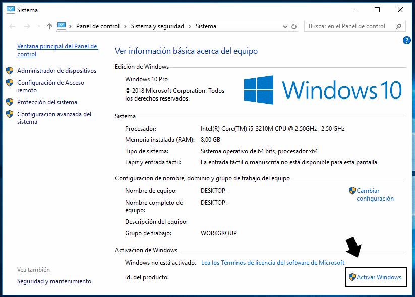 como se activa windows 10