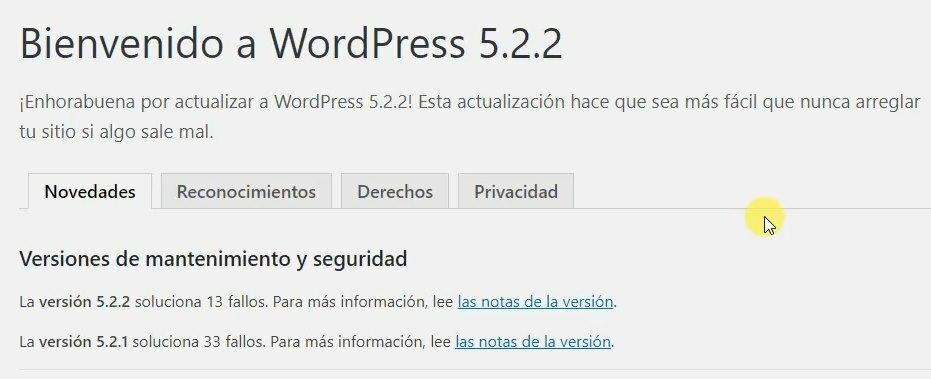 como actualizar wordpress en español 2019